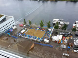 Helikoptervy på vårt eget reklamtält på plats i Umeå under Swedish beach tour.